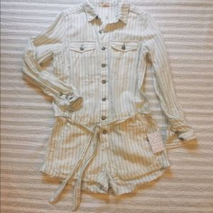 Free People Yarn Dyed Striped Romper NWT p907